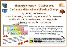 thanksgiving day calendar brockville garbage and recyling city of brockville