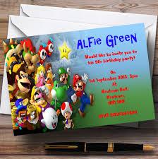 mario invitations super mario bros luigi nintendo personalised children u0027s party