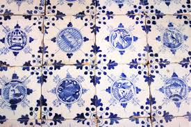 antique dutch delft wall tiles with chinese gardens in blue 17th