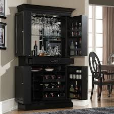 Bar Hutch Funiture Black London Bar Cabinet With Wine Storage Made Of Wood