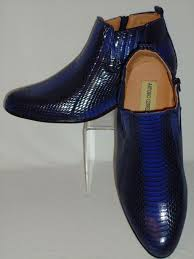 mens stylish royal blue exotic snake look high heel boots antonio