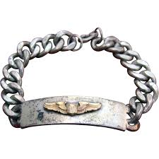 air bracelet wwii army air corps pilot wings silver id bracelet from