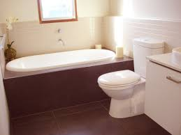 small bathroom design and decoration using dark brown ceramic