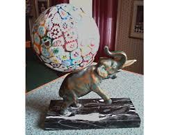 art deco bronze elephant lamp on black marble base murano