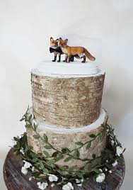 themed wedding cake toppers fox and groom wedding cake topper rustic by morganthecreator