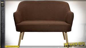 habillage canapé canapé rétro 2 place avec habillage tissu marron et piètement en compas