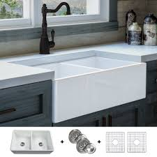 white kitchen cabinets with farm sink luxury 33 inch modern fireclay farmhouse kitchen sink white bowl flat front includes grid and drain by fossil