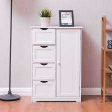 Free Standing Wooden Bathroom Furniture Costway Wooden 4 Drawer Bathroom Cabinet Storage Cupboard 2