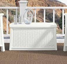 deck storage box white end table patio chest trunk plastic wicker