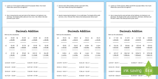 decimals addition activity sheet decimals decimals addition