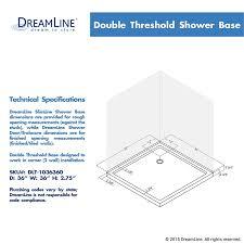 dreamline slimline 36 in x 36 in double threshold shower base