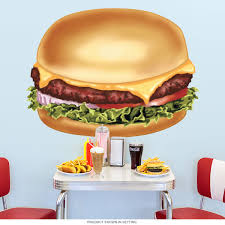 Wizard Of Oz Wall Stickers Cheeseburger Diner Food Cut Out Wall Decal Kitchen Wall Art