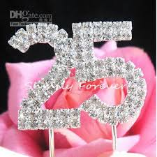 25 cake topper diamante 25 birthday cake topper decoration numbers silver wedding