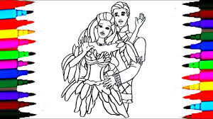 how to draw barbie princess and prince ken coloring pages for kids