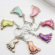 baby keychains 100pcs lot mini foot shaped keychains keyrings for baby