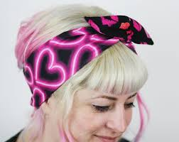 80s headbands retro reversible wired bow headband 80s neon hearts and lip