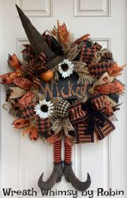 halloween wreath halloween burlap mesh rustic witch wreath with primitive boots and