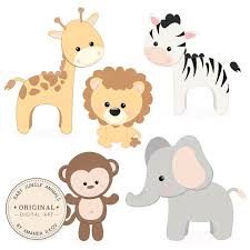 Baby Shower Clip Art Free - professional baby jungle animals clipart u0026 vector set baby