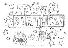 happy birthday coloring card coloring pages decorative happy birthday coloring pages