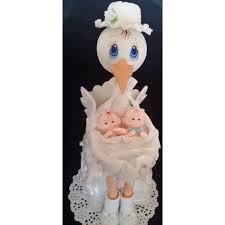 twins baby shower mommy stork with twins babies cake topper