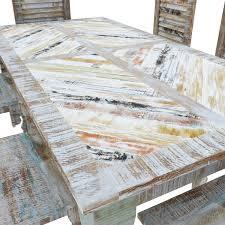 rainbow rustic reclaimed wood 9pc dining room set
