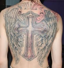 cross and wings on back
