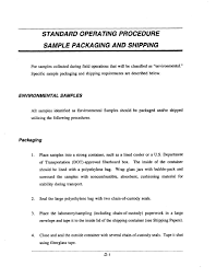standard operating procedure sample packaging and shipping
