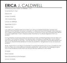 resignation letter format immediate resigantion letter sample
