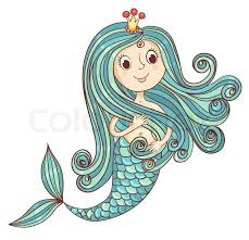 pretty princess mermaid riding golden fish stock vector