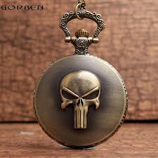 vintage necklace watch pendant images Vintage skull dial roman pocket watches pendant necklace chain jpg