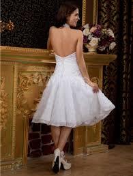 Knee Length Wedding Dresses Glamorous White Halter A Line Lace Knee Length Wedding Dress
