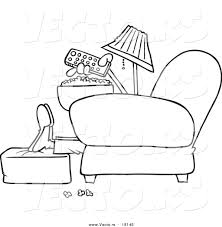 vector of a cartoon man with popcorn pointing a remote at a tv