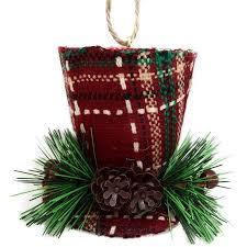 time ornaments 4 plaid top hat ornament
