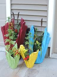 cement rag planters painted with rustoleum indoor outdoor pain