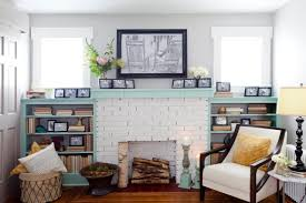 minty fresh white painted fireplace
