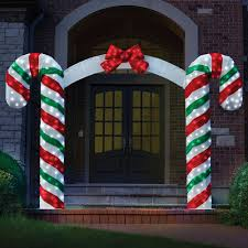 Unique Outdoor Christmas Decorations by The Illuminated Candy Cane Archway Hammacher Schlemmer