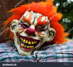 very scary halloween mask flaming red stock photo 63061111