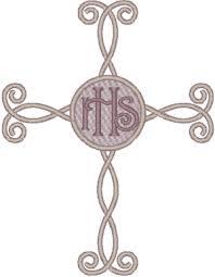 scroll cross embroidery design