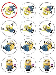 minions cake toppers despicable me minions cupcake toppers pack of 12 icing ready cut