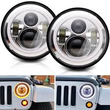 round led lights for jeep dot 7 round led headlights halo ring angel eyes drl l turning