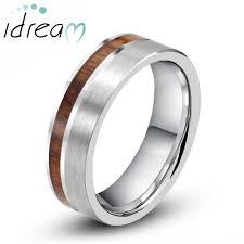 wood inlay wedding band koa wood inlaid tungsten wedding band unique tungsten carbide