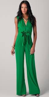 green jumpsuits lyst catherine malandrino silk jumpsuit in green