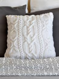 Knitted Cushion Cover Patterns White Knitted Pillow Cover By Warm And Soft On Zibbet