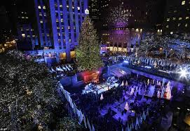 rockefeller center lights turned on with help from
