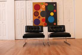 Black Leather Chairs Probber Pair Black Leather Chairs