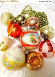 vintage large blown gold mercury glass indent christmas ornament