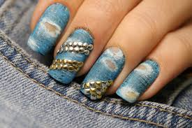 torn studded jeans design nail art by let u0027s nail moscow