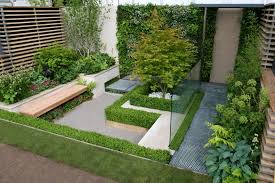 Small Garden Landscape Ideas Small Garden Design With Solid Wooden Bench Using Contemporary