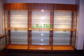 lockable glass display cabinet showcase 2014 new design wood color lockable glass showcase display wood