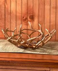 decorative deer antler bowl table centerpiece rustic cabin lodge